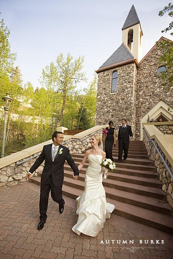 beaver creek chapel wedding bride and groom exit colorado
