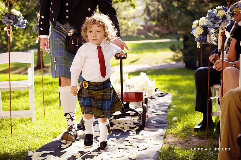 colorado wedding denver grant humphreys mansion ring bearer in kilt