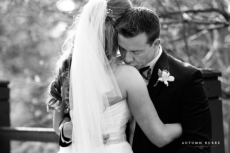 cielo at castle pines wedding, bride and groom intimate moment first look