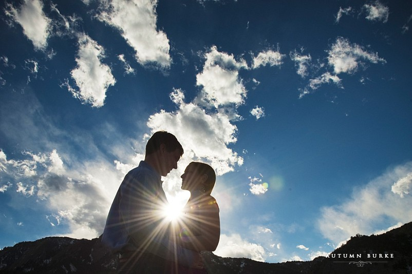 boulder colorado engagement portrait bluebird skies silhouette