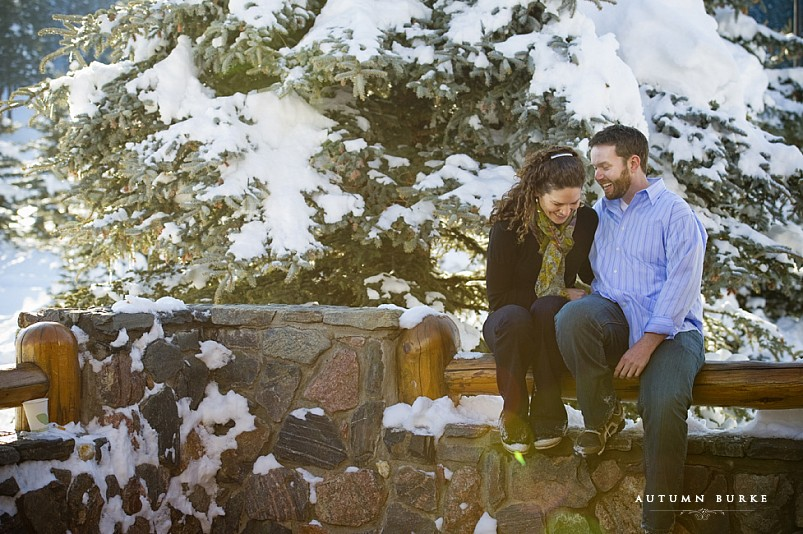 evergreen colorado snowy winter engagement session