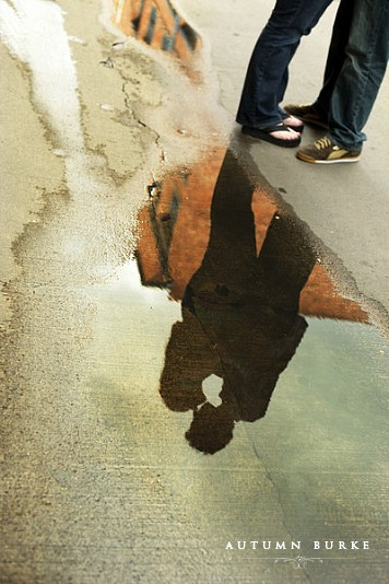 downtown denver colorado urban engagement session puddle reflection