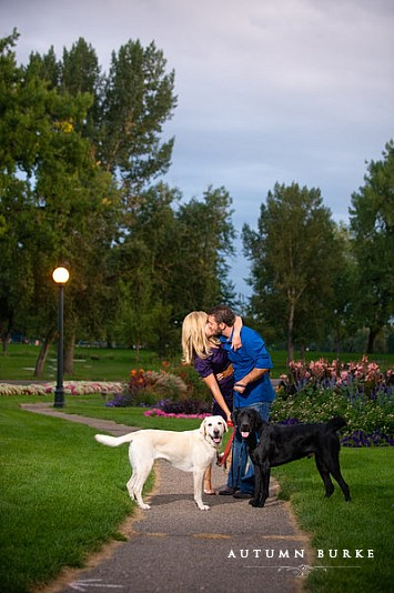 wash park colorado engagement portrait session with dogs