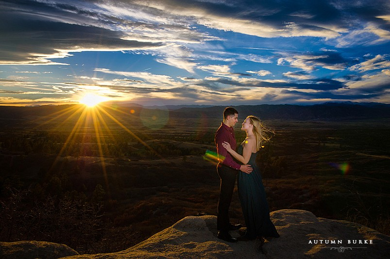 sunset, daniels park, colorado mountains, colorado engagment session, dramatic sky