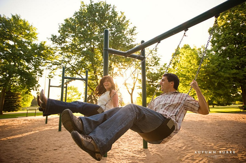 denver colorado playful engagement session city park swings