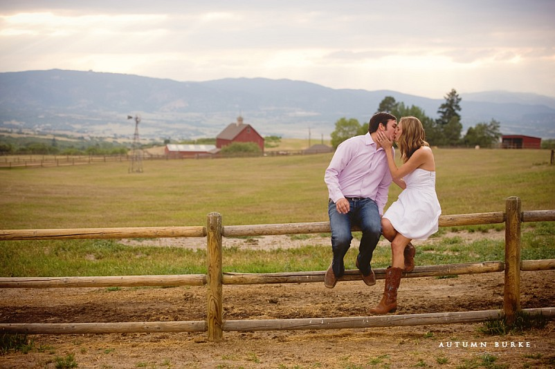 rustic colorado engagement portrait barn boots horses