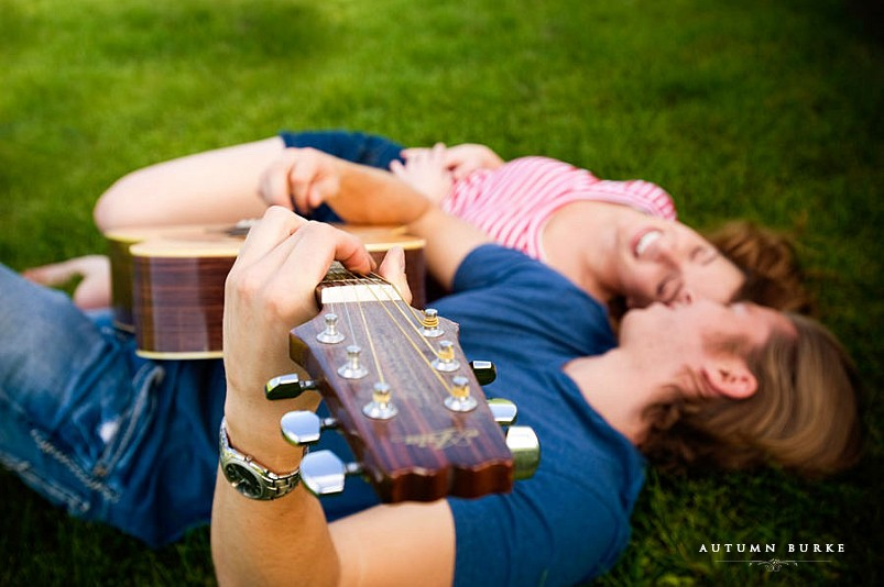 colorado engagement session couple with guitar